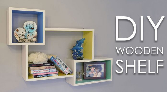 DIY Colorful Rectangular Wooden Wall Shelf 0000000
