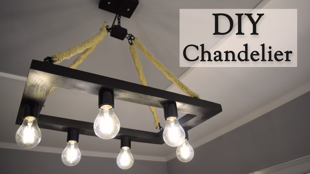How to Make a Rustic Industrial Style Hemp Rope Chandelier DIY Project 0
