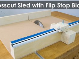 How to Make a Crosscut Sled with Flip Stop Block (Free Plans) Featured