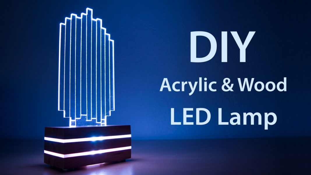 DIY Acrylic and Wood Color Changing LED Lamp Featured 1068x601
