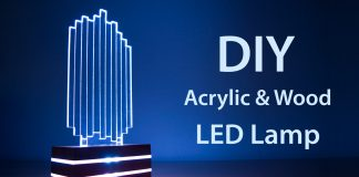 DIY Acrylic and Wood Color-Changing LED Lamp Featured