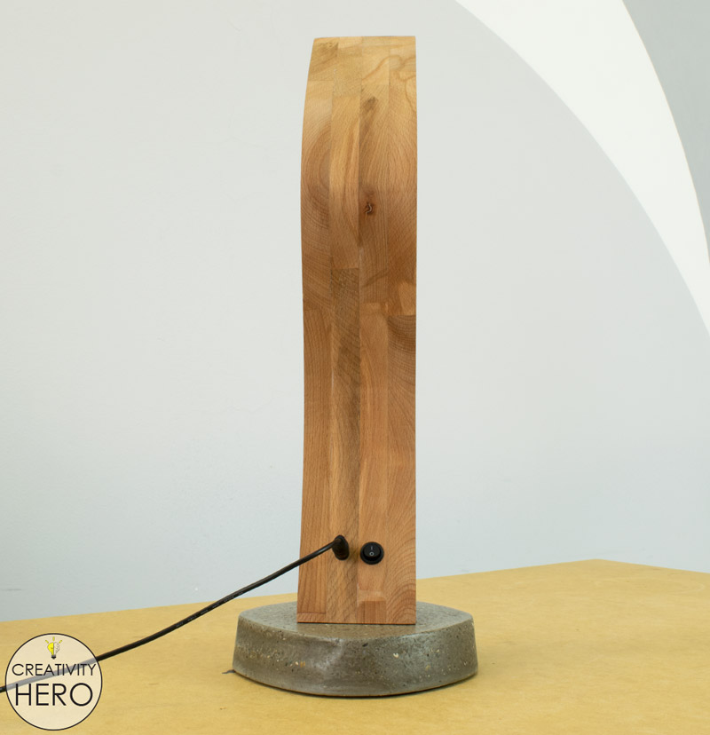 Curved Wood And Acrylic Led Desk Lamp With Concrete Base Bending Acrylic Creativity Hero