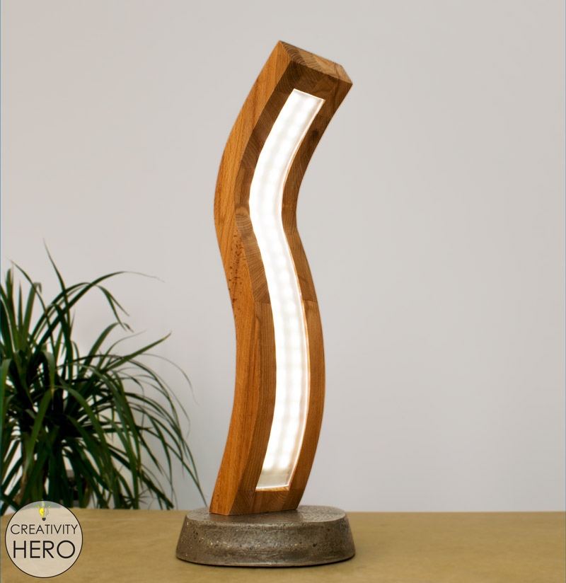 Curved Wood and Acrylic LED Desk Lamp with Concrete Base 34