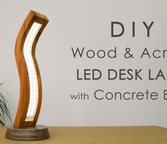 Curved Wood and Acrylic LED Desk Lamp with Concrete Base Featured Website