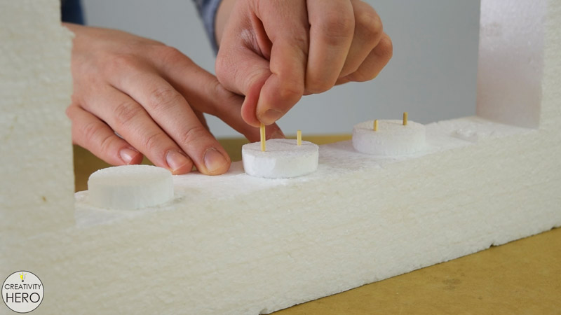 How to Make a Concrete Candle Holder with a Simple Molding Technique 6 - Adding Styrofoam Circles