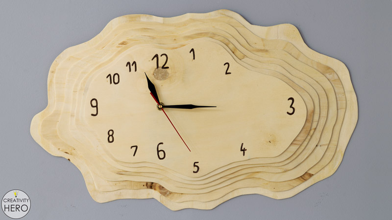 Making a Layered Plywood Wall Clock with a Tree Ring Shape 0