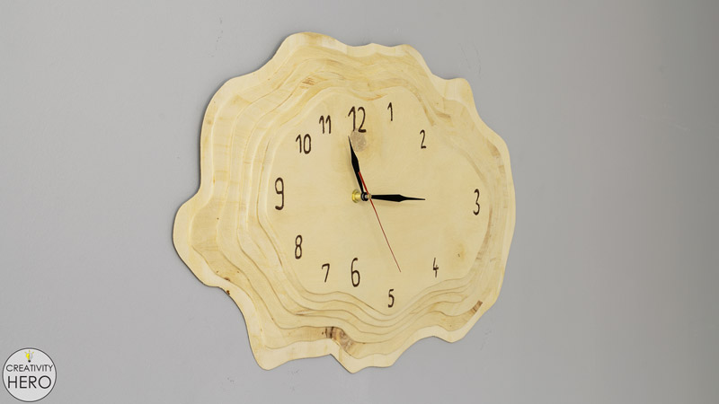 Making a Layered Plywood Wall Clock with a Tree Ring Shape 00
