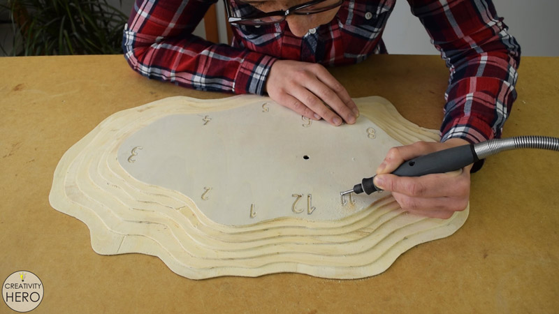 Making a Layered Plywood Wall Clock with a Tree Ring Shape 23 - Engraving the numbers with a Dremel rotary tool