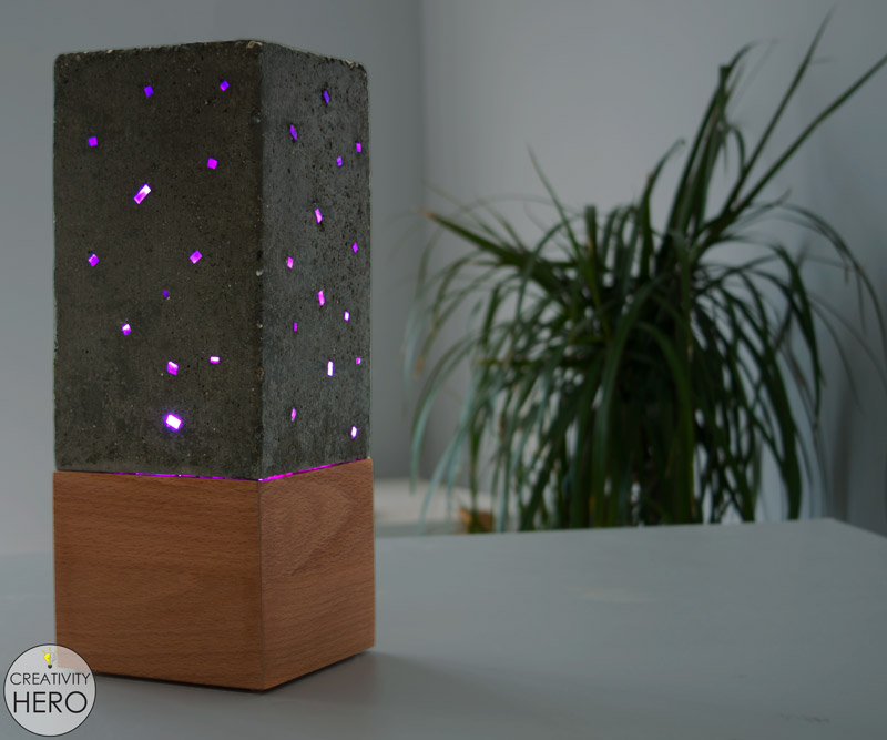 DIY Acrylic and Concrete Lamp with a Wooden Base 0