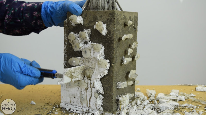 DIY Acrylic and Concrete Lamp with a Wooden Base 12 - Removing the Mold