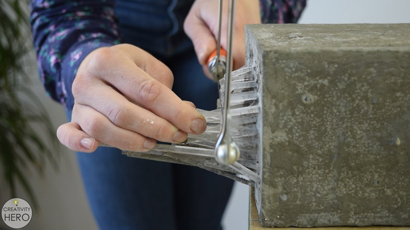 DIY Acrylic and Concrete Lamp with a Wooden Base 13 - Cutting the Extra Length of the Acrylic with a Coping Saw