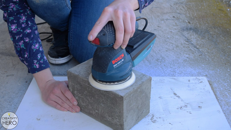 DIY Acrylic and Concrete Lamp with a Wooden Base 14 - Sanding the Concrete with an Orbital Sander