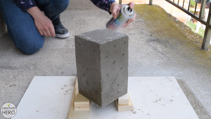 DIY Acrylic and Concrete Lamp with a Wooden Base 18 - Spray Painting the Concrete Surface