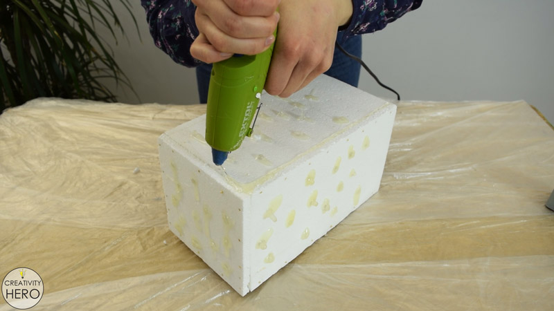 DIY Acrylic and Concrete Lamp with a Wooden Base 9 - Filling the Gaps on the Joining Parts with a Hot Glue