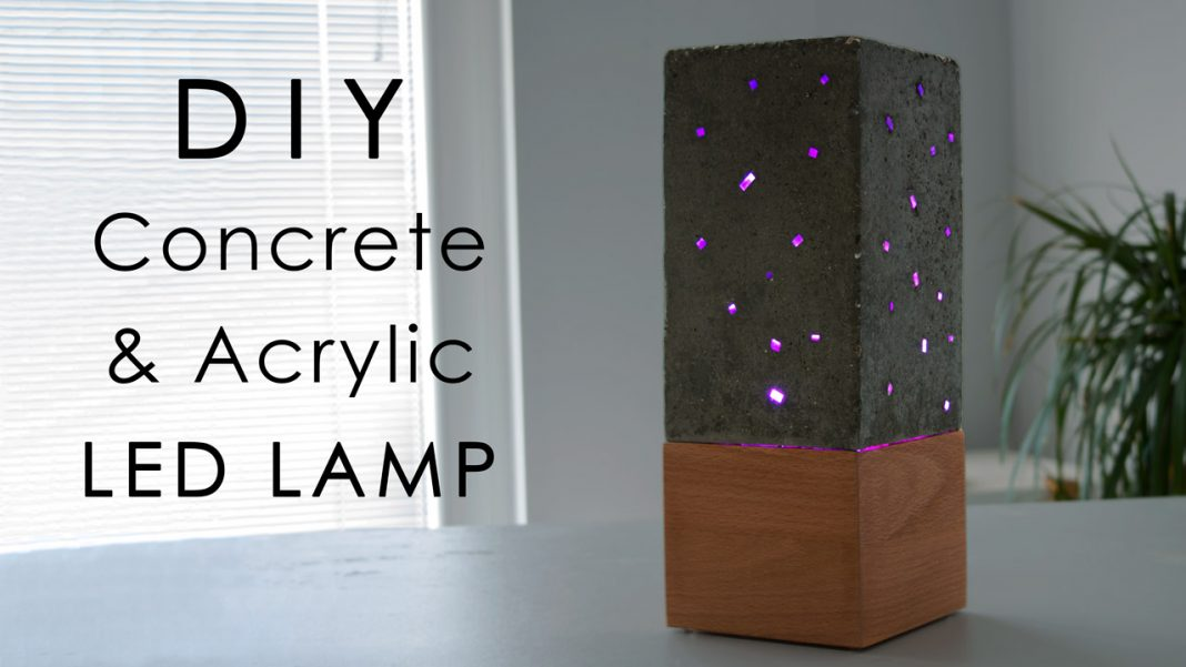 Diy Concrete And Acrylic Led Lamp With A Wooden Base Creativity Hero