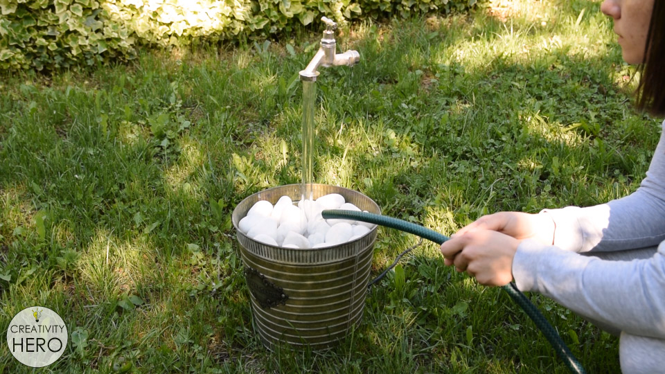 How to Make a FLOATING Faucet Fountain 16 - Adding some water into the bucket